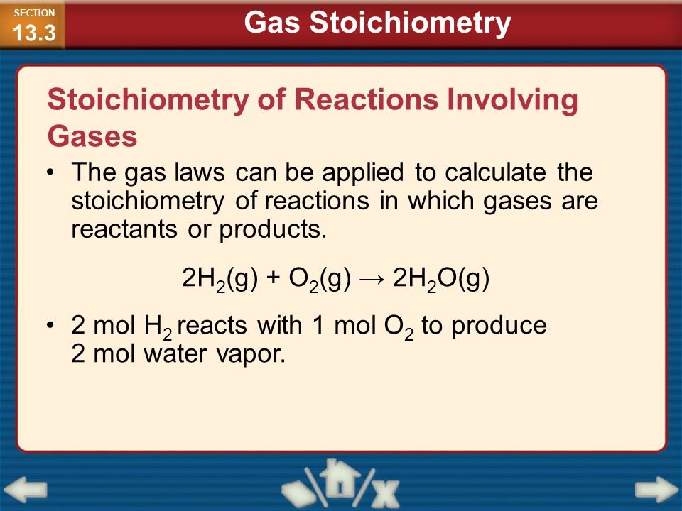 Stoichiometry of Reactions Involving Gases The gas laws can be applied to calculate the stoichiometry of reactions in which gases are reactants or pro