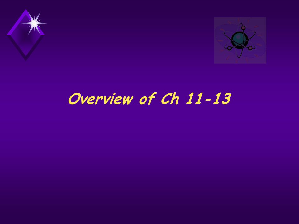 Overview of Ch 11-13