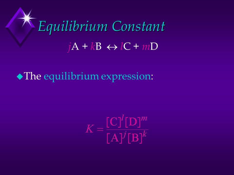 Equilibrium Constant j A + k B  l C + m D u The equilibrium expression: