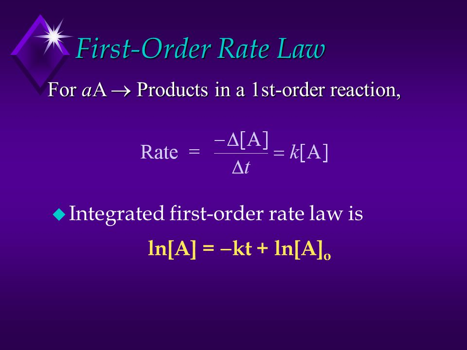 First-Order Rate Law u Integrated first-order rate law is ln[A] =  kt + ln[A] o For aA  Products in a 1st-order reaction,
