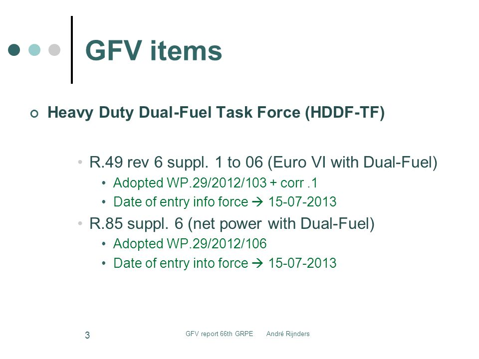 GFV items Heavy Duty Dual-Fuel Task Force (HDDF-TF) R.49 rev 6 suppl.