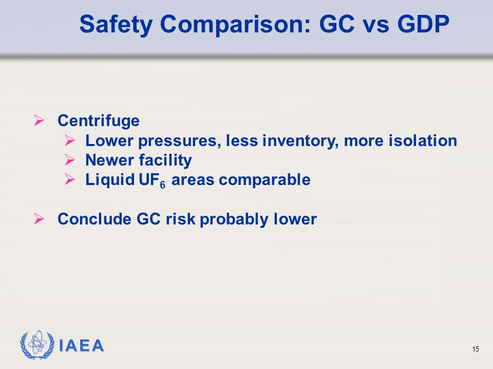 IAEA Safety Comparison: GC vs GDP  Centrifuge  Lower pressures, less inventory, more isolation  Newer facility  Liquid UF 6 areas comparable  Conclude GC risk probably lower 15