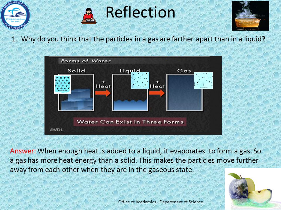 Reflection 1. Why do you think that the particles in a gas are farther apart than in a liquid? Answer: When enough heat is added to a liquid, it evapo