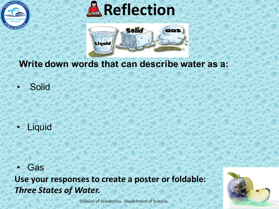 Reflection Write down words that can describe water as a: Solid Liquid Gas Division of Academics - Department of Science Use your responses to create