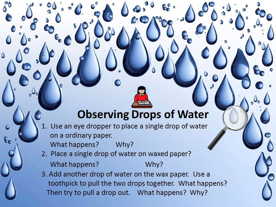 Observing Drops of Water 1. Use an eye dropper to place a single drop of water on a ordinary paper. What happens? Why? 2. Place a single drop of water