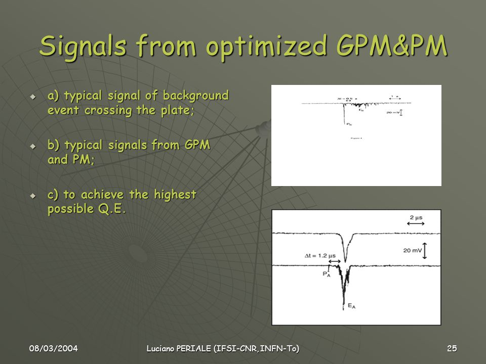 08/03/2004 Luciano PERIALE (IFSI-CNR, INFN-To) 25 Signals from optimized GPM&PM  a) typical signal of background event crossing the plate;  b) typical signals from GPM and PM;  c) to achieve the highest possible Q.E.