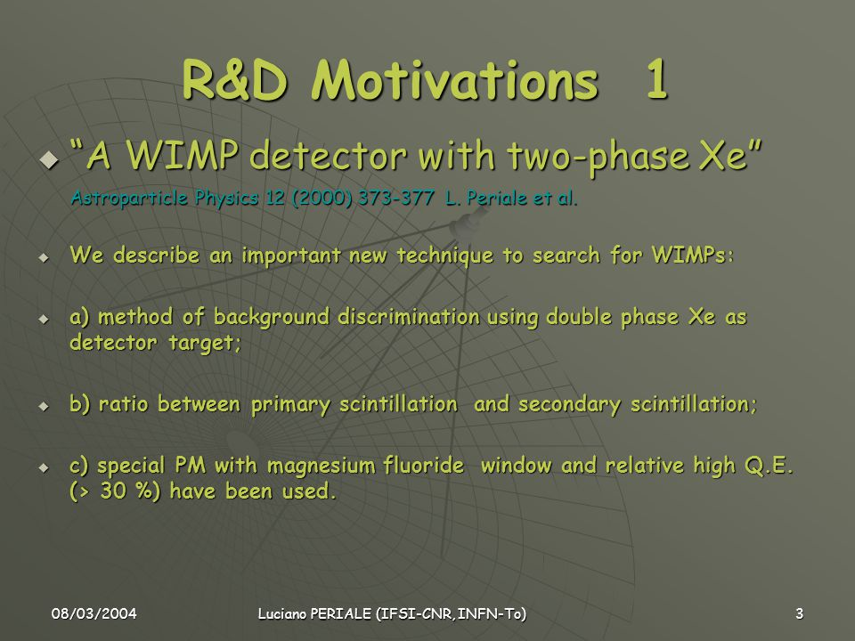 08/03/2004 Luciano PERIALE (IFSI-CNR, INFN-To) 3 R&D Motivations 1  A WIMP detector with two-phase Xe Astroparticle Physics 12 (2000) 373-377 L.