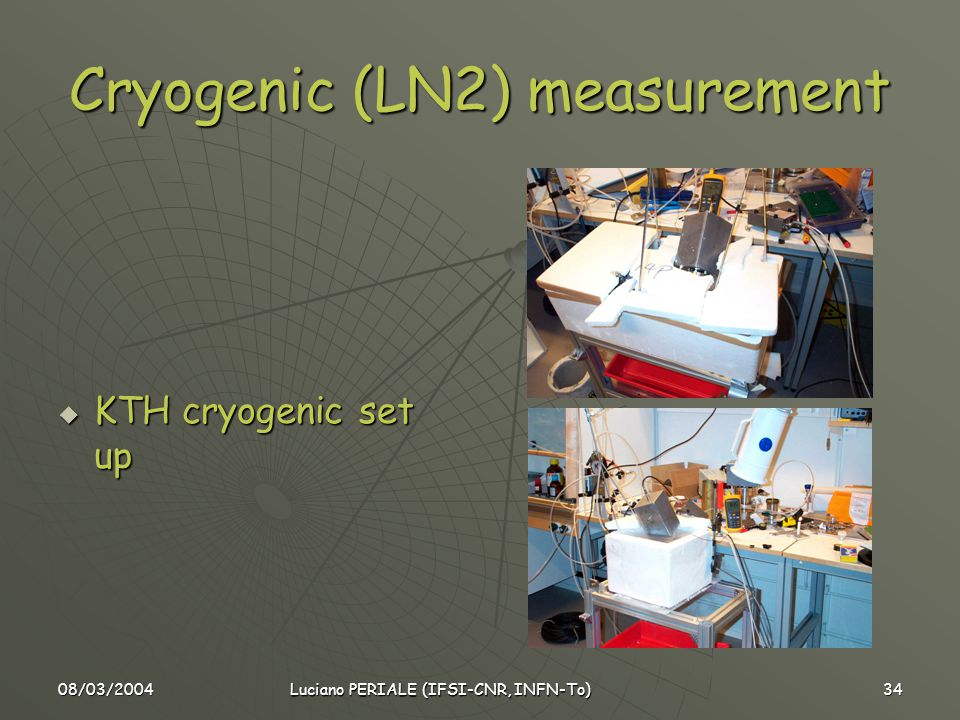 08/03/2004 Luciano PERIALE (IFSI-CNR, INFN-To) 34 Cryogenic (LN2) measurement  KTH cryogenic set up