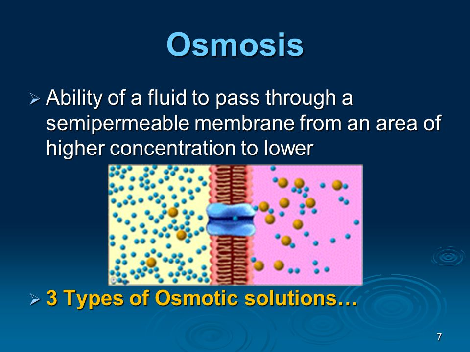 Osmosis  Ability of a fluid to pass through a semipermeable membrane from an area of higher concentration to lower  3 Types of Osmotic solutions… 7