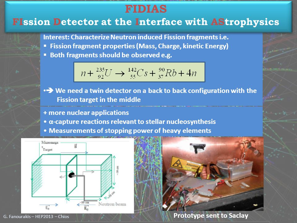 G. Fanourakis – HEP2013 – Chios + more nuclear applications α-capture reactions relevant to stellar nucleosynthesis Measurements of stopping power of