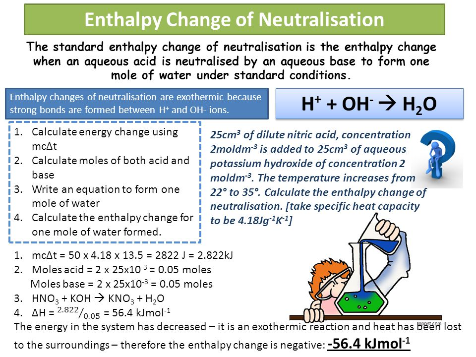 Enthalpy Change of Neutralisation The standard enthalpy change of neutralisation is the enthalpy change when an aqueous acid is neutralised by an aqueous base to form one mole of water under standard conditions.