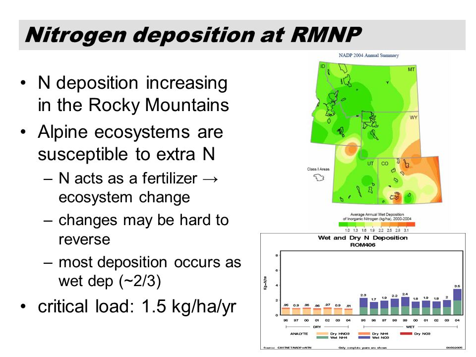 2 N deposition increasing in the Rocky Mountains Alpine ecosystems are susceptible to extra N –N acts as a fertilizer → ecosystem change –changes may be hard to reverse –most deposition occurs as wet dep (~2/3) critical load: 1.5 kg/ha/yr Nitrogen deposition at RMNP