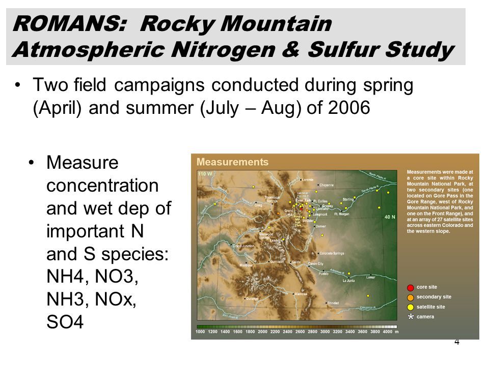 4 Two field campaigns conducted during spring (April) and summer (July – Aug) of 2006 Measure concentration and wet dep of important N and S species: NH4, NO3, NH3, NOx, SO4 ROMANS: Rocky Mountain Atmospheric Nitrogen & Sulfur Study