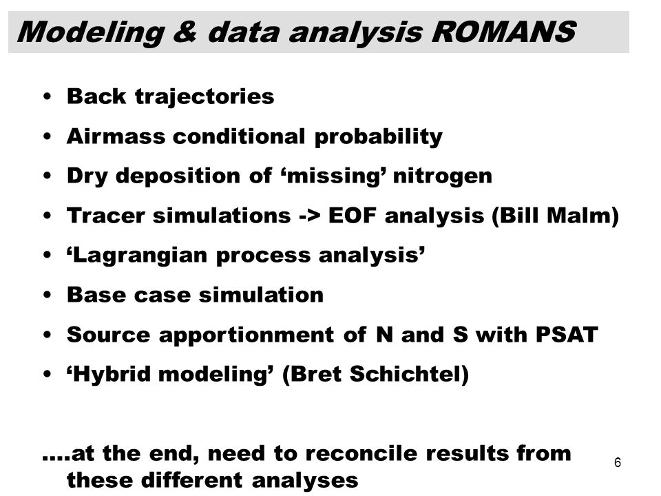 6 Modeling & data analysis ROMANS Back trajectories Airmass conditional probability Dry deposition of 'missing' nitrogen Tracer simulations -> EOF ana