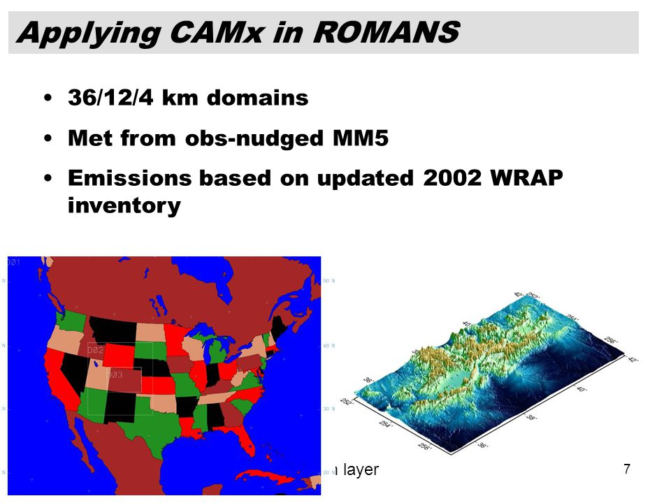 7 Domain 1 36 Km 165 x 129 Domain 2 12 Km 103 x 115 Domain 3 4 Km 163 x 118 35 layers – 34 from WRAP, plus a 10-m layer Applying CAMx in ROMANS 36/12/4 km domains Met from obs-nudged MM5 Emissions based on updated 2002 WRAP inventory