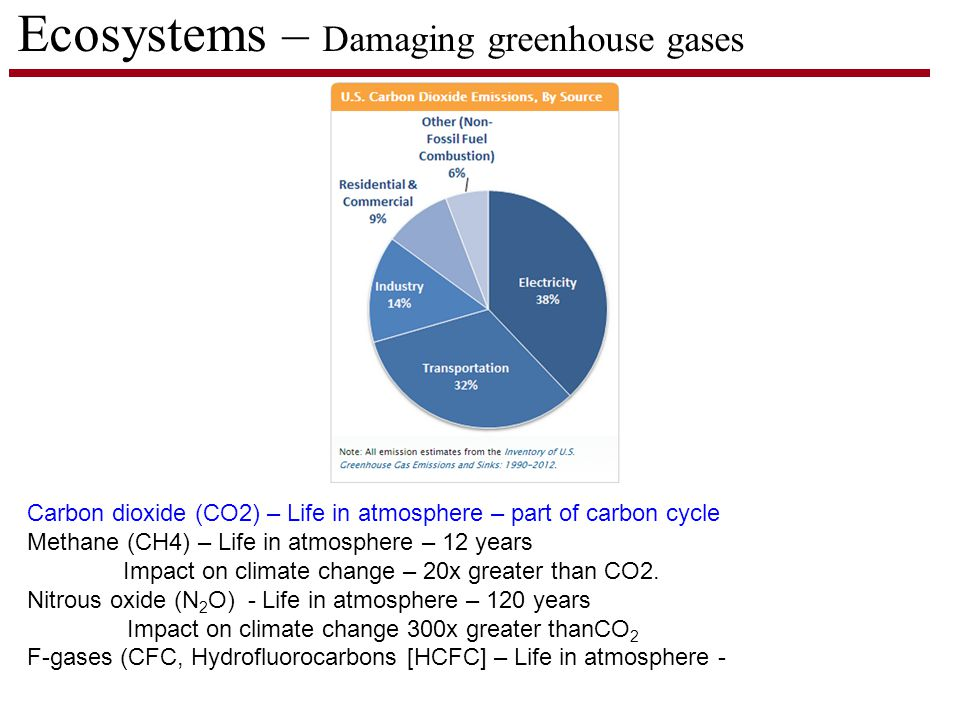 Ecosystems – Damaging greenhouse gases Carbon dioxide (CO2) – Life in atmosphere – part of carbon cycle Methane (CH4) – Life in atmosphere – 12 years Impact on climate change – 20x greater than CO2.