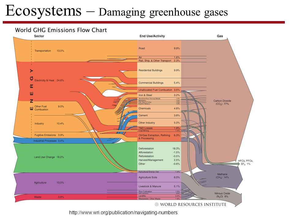 Ecosystems – Damaging greenhouse gases http://www.wri.org/publication/navigating-numbers