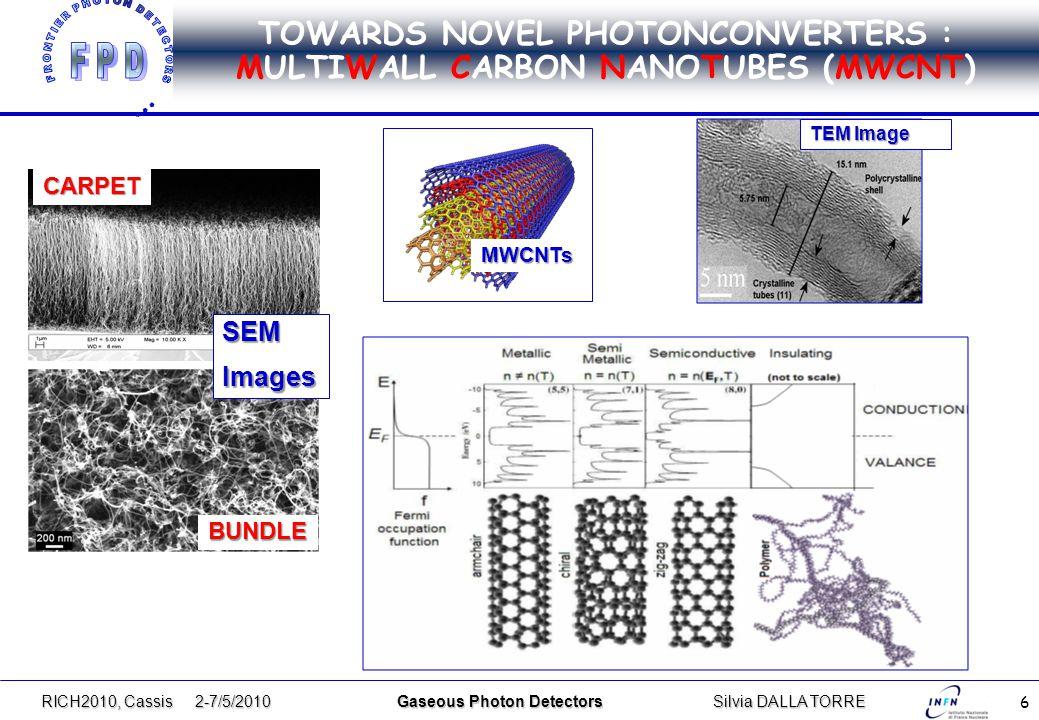 6 TOWARDS NOVEL PHOTONCONVERTERS : MULTIWALL CARBON NANOTUBES (MWCNT) RICH2010, Cassis 2-7/5/2010 Gaseous Photon DetectorsSilvia DALLA TORRE MWCNTs CARPET BUNDLE TEM Image SEMImages