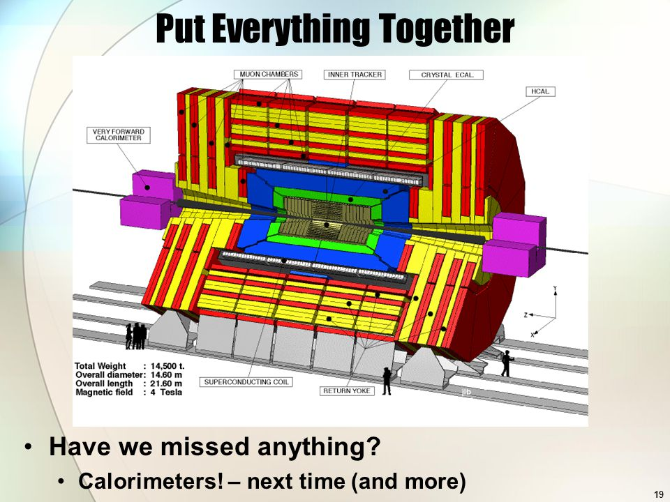 Put Everything Together Have we missed anything Calorimeters! – next time (and more) 19