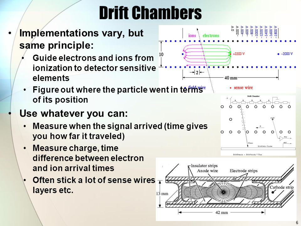 Drift Chambers Implementations vary, but same principle: Guide electrons and ions from ionization to detector sensitive elements Measure charge, time difference between electron and ion arrival times Often stick a lot of sense wires, layers etc.