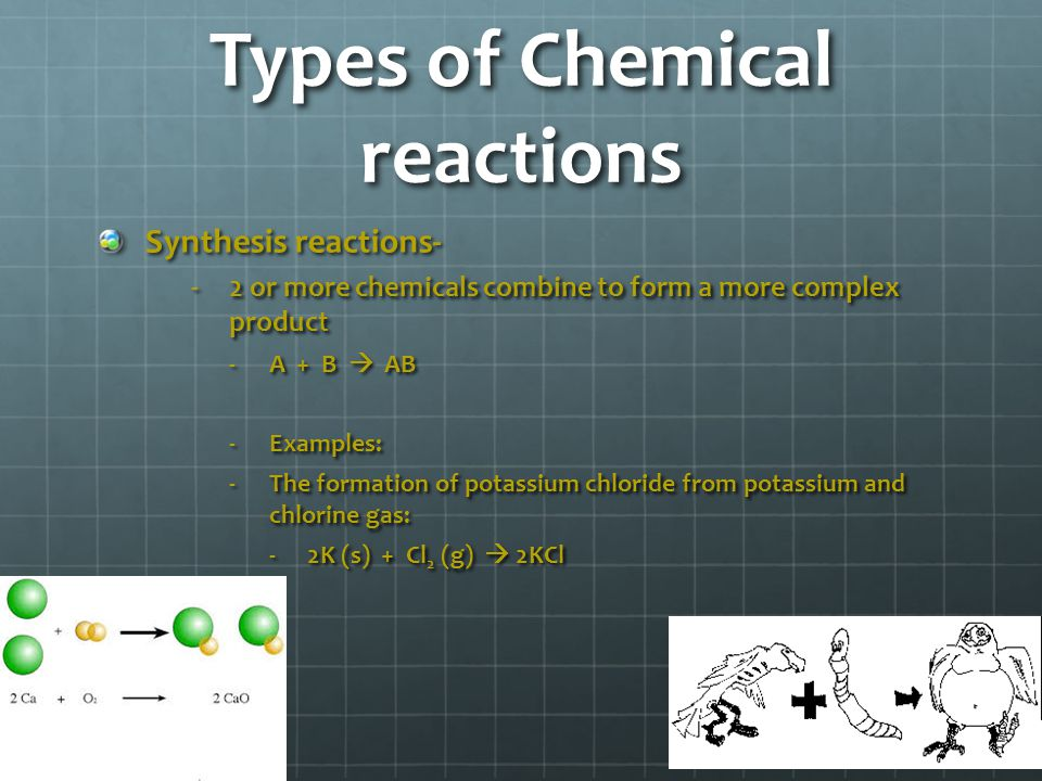 Reaction Types Cont… Decomposition: A compound is broken down into smaller chemical species AB  A + B Examples: 2KCl  2 K (s) + Cl 2 (g) 2H 2 O  2H 2 + O 2