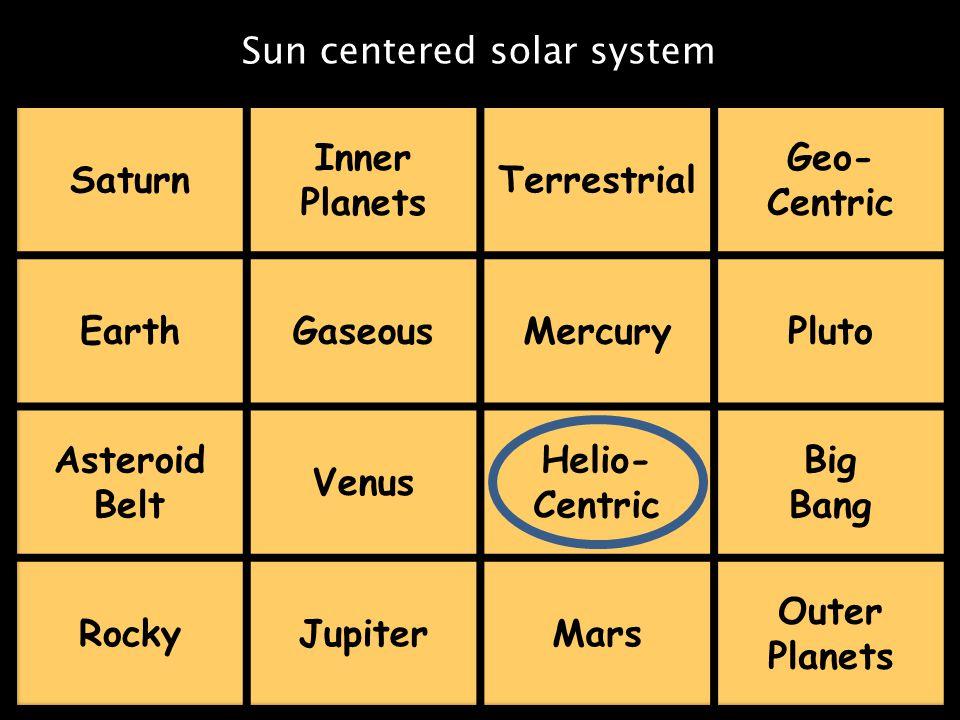Sun centered solar system