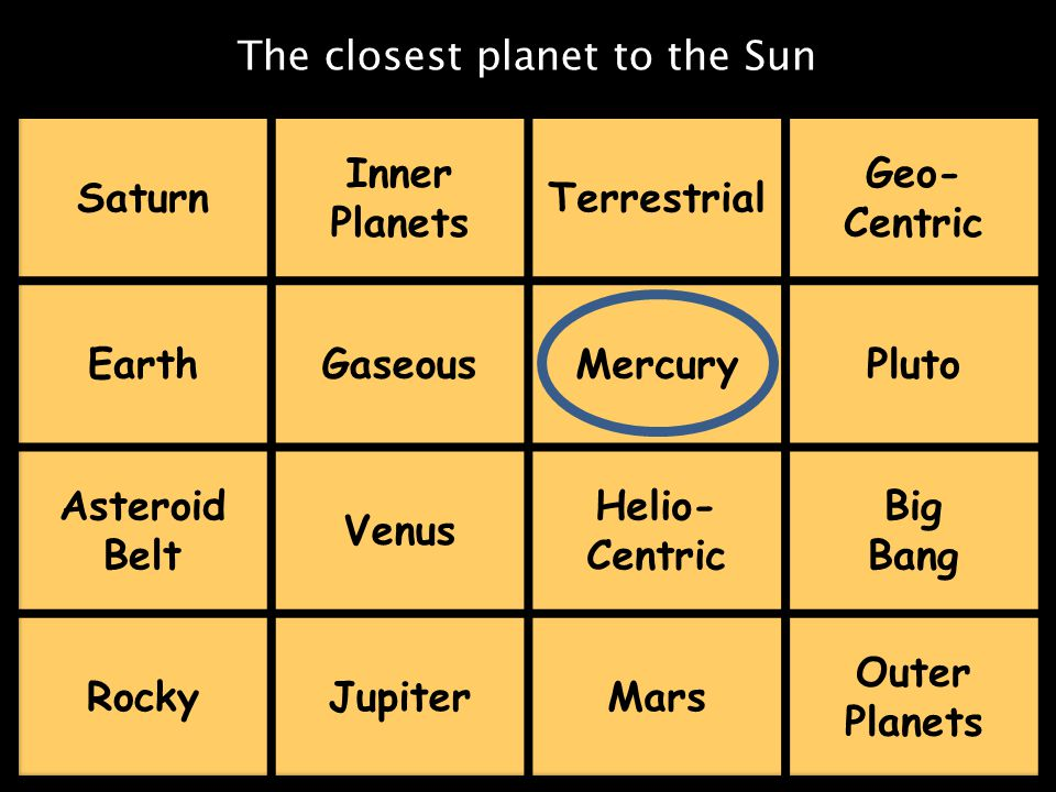 The closest planet to the Sun