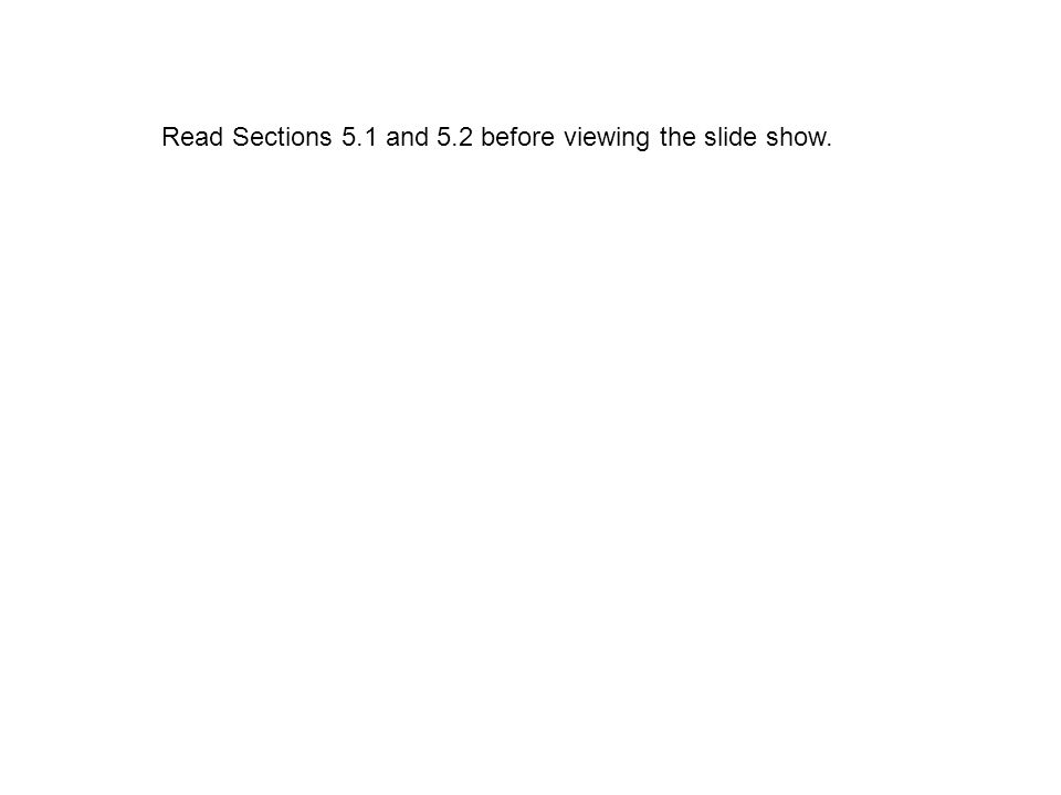 Read Sections 5.1 and 5.2 before viewing the slide show.