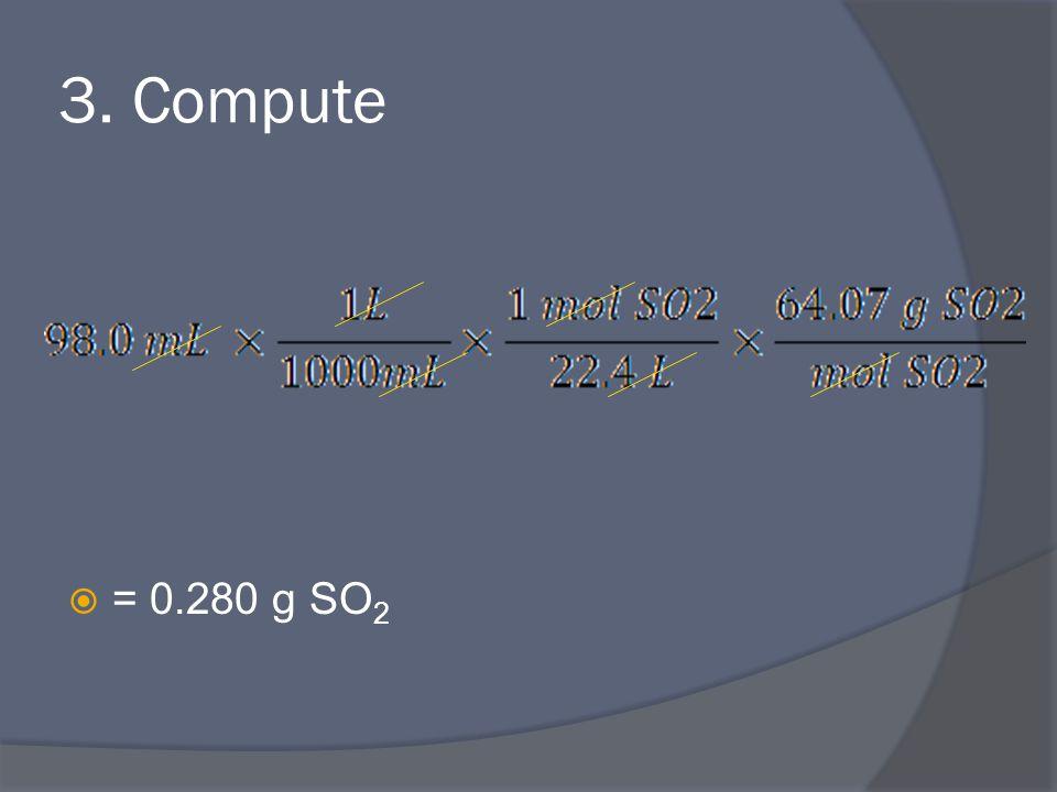 3. Compute  = 0.280 g SO 2