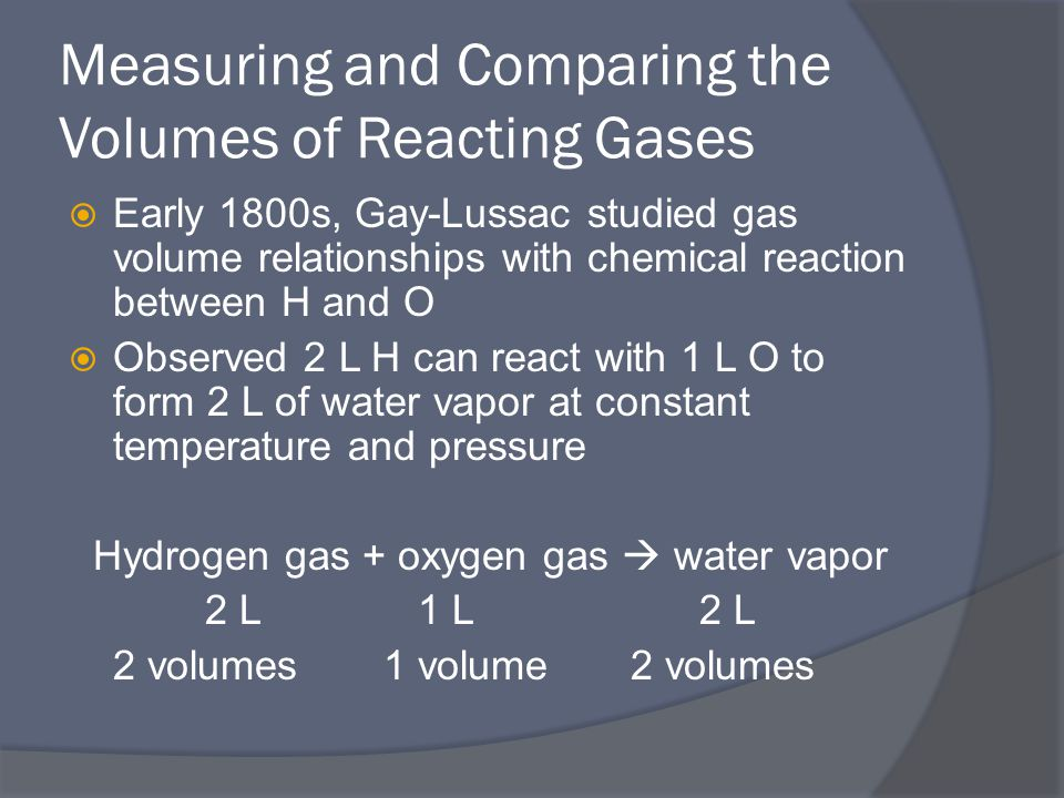 Measuring and Comparing the Volumes of Reacting Gases  Early 1800s, Gay-Lussac studied gas volume relationships with chemical reaction between H and O  Observed 2 L H can react with 1 L O to form 2 L of water vapor at constant temperature and pressure Hydrogen gas + oxygen gas  water vapor 2 L 1 L 2 L 2 volumes1 volume 2 volumes