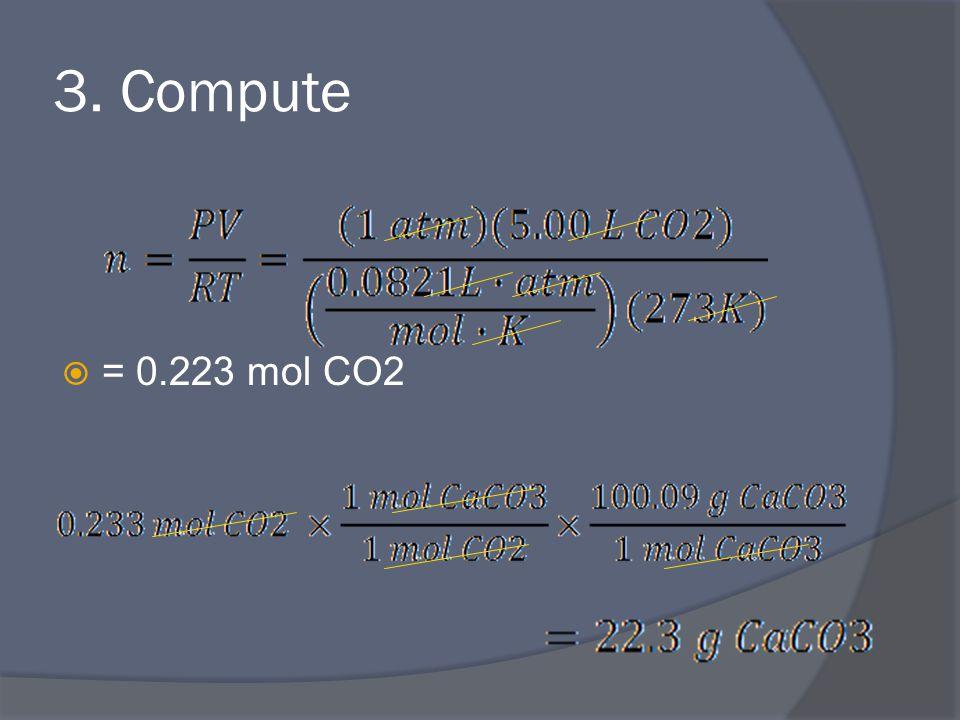 3. Compute  = 0.223 mol CO2
