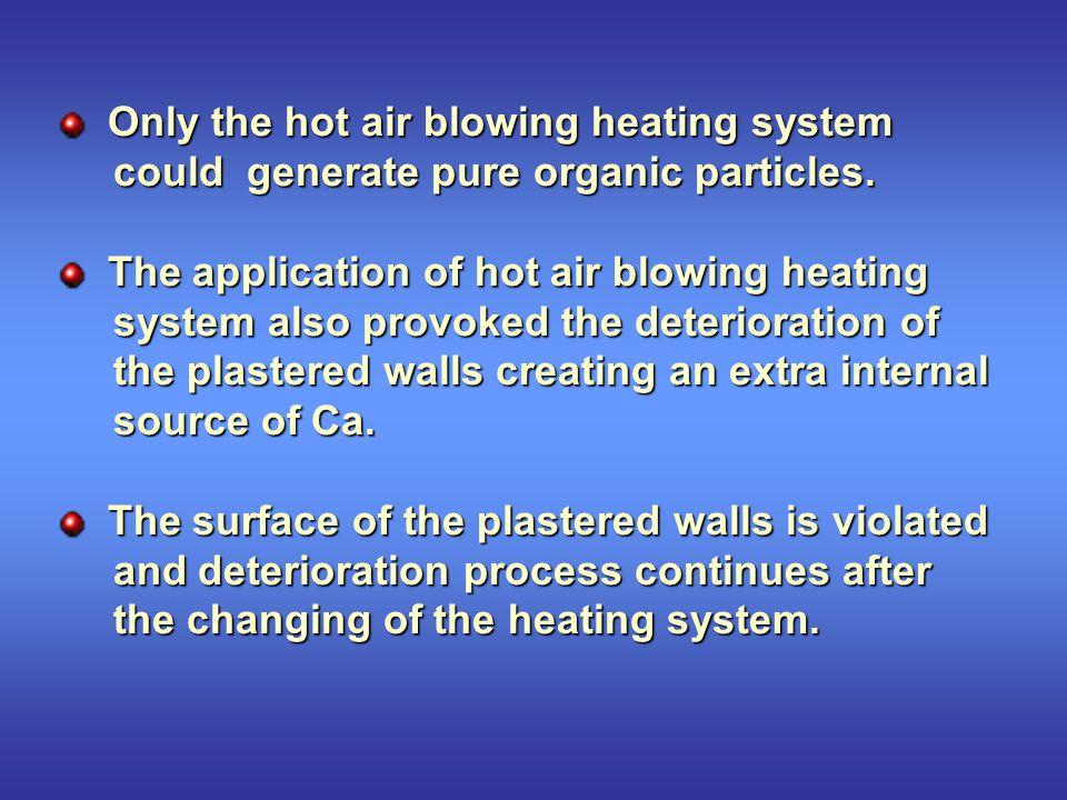 Only the hot air blowing heating system Only the hot air blowing heating system could generate pure organic particles.