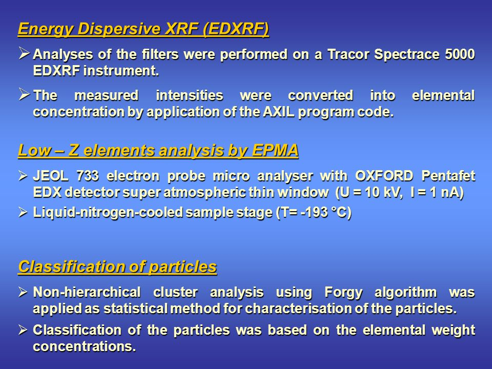 Energy Dispersive XRF (EDXRF)  Analyses of the filters were performed on a Tracor Spectrace 5000 EDXRF instrument.