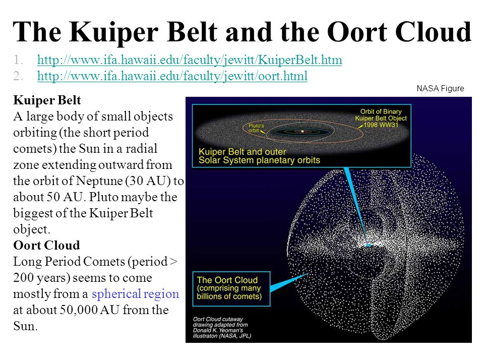 The Kuiper Belt and the Oort Cloud 1.http://www.ifa.hawaii.edu/faculty/jewitt/KuiperBelt.htmhttp://www.ifa.hawaii.edu/faculty/jewitt/KuiperBelt.htm 2.http://www.ifa.hawaii.edu/faculty/jewitt/oort.htmlhttp://www.ifa.hawaii.edu/faculty/jewitt/oort.html Kuiper Belt A large body of small objects orbiting (the short period comets) the Sun in a radial zone extending outward from the orbit of Neptune (30 AU) to about 50 AU.