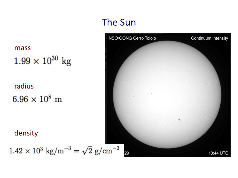 The Sun mass radius density