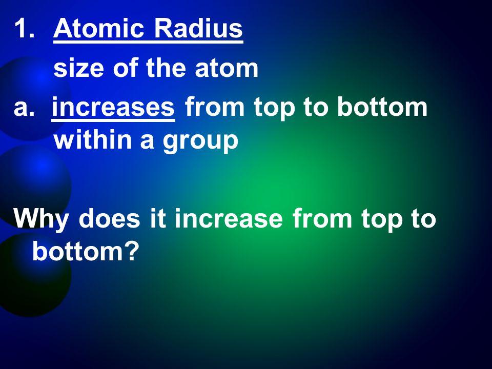 1.Atomic Radius size of the atom a.