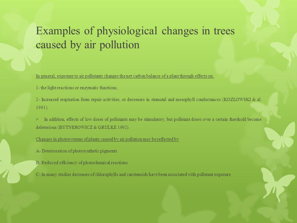 Examples of physiological changes in trees caused by air pollution In general, exposure to air pollutants changes the net carbon balance of a plant th