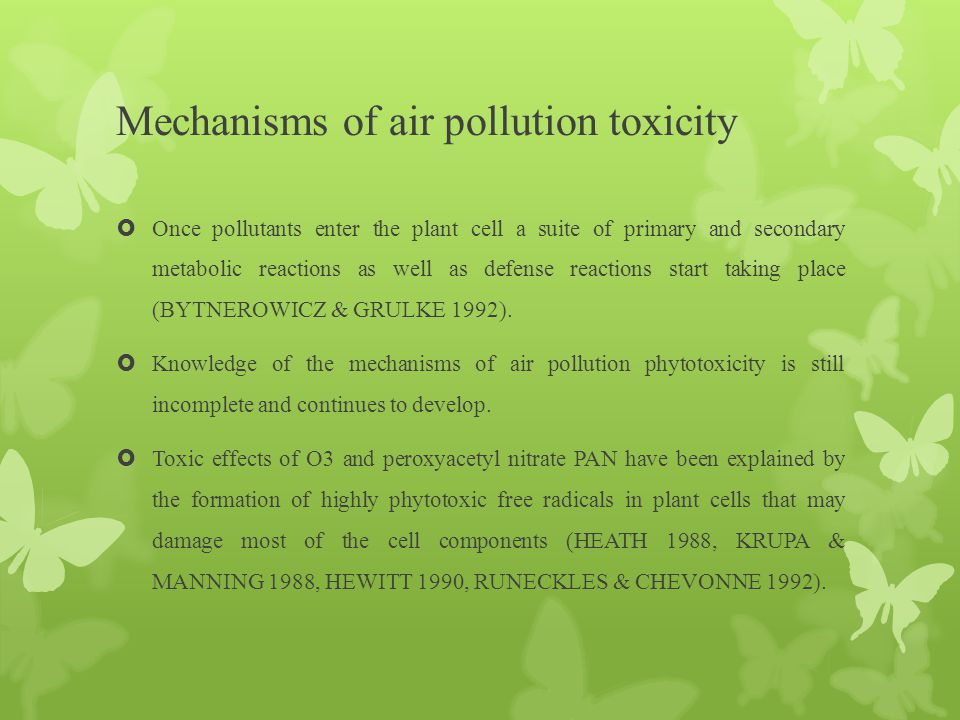 Mechanisms of air pollution toxicity  Once pollutants enter the plant cell a suite of primary and secondary metabolic reactions as well as defense re
