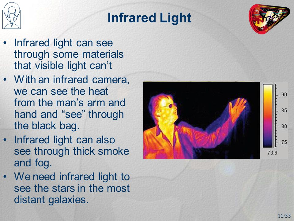 Infrared Light Infrared light can see through some materials that visible light can't With an infrared camera, we can see the heat from the man's arm and hand and see through the black bag.