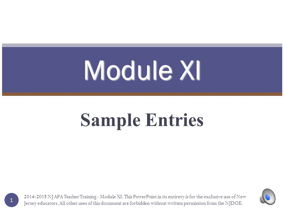Module XI Sample Entries 1 2014-2015 NJ APA Teacher Training - Module XI.