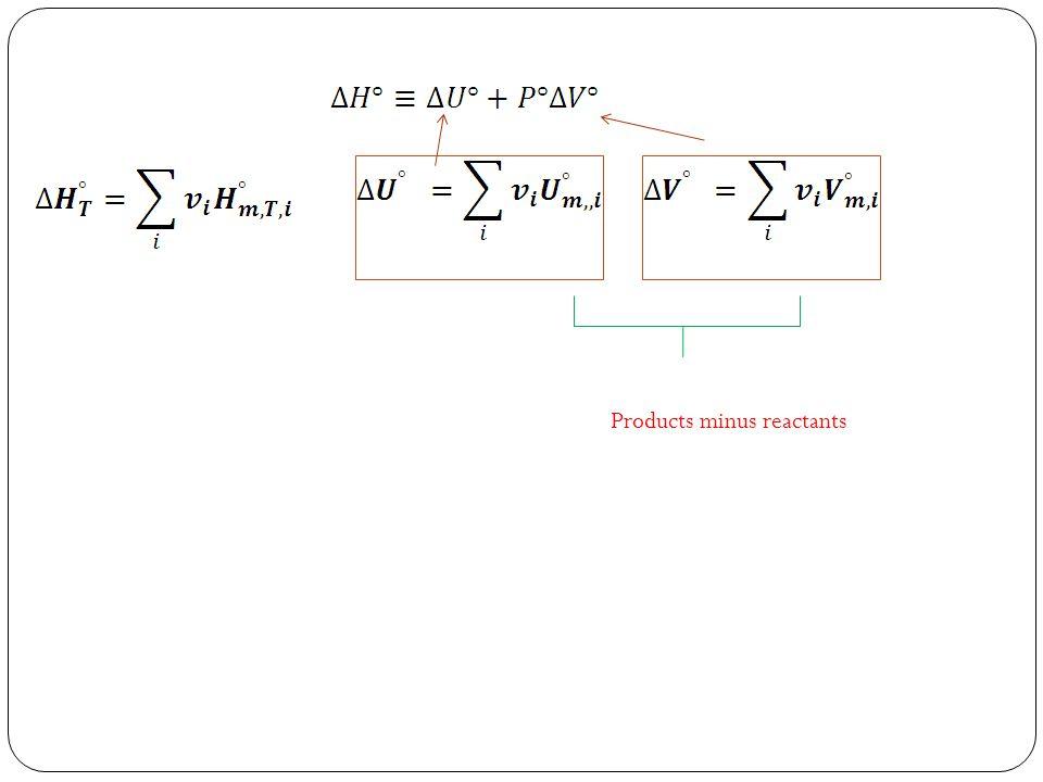 Products minus reactants