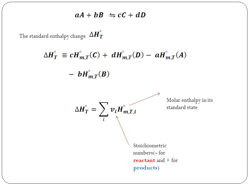 The standard enthalpy change Stoichiometric numbers(- for reactant and + for products) Molar enthalpy in its standard state