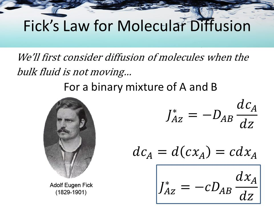 Molecular Diffusion in Gases Example A large tank filled with a mixture of methane and air is connected to a second tank filled with a different composition of methane and air.