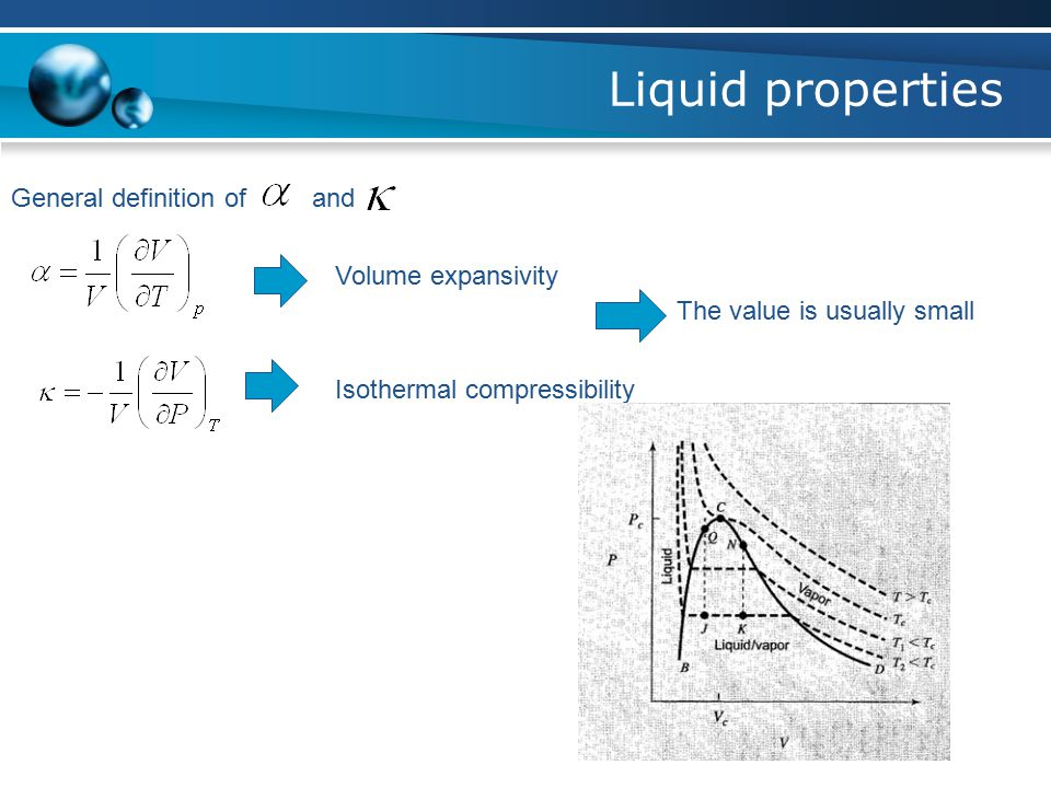 Liquid properties General definition of and Volume expansivity Isothermal compressibility The value is usually small