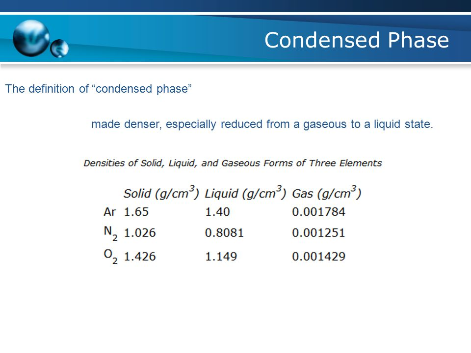Condensed Phase The definition of condensed phase made denser, especially reduced from a gaseous to a liquid state.