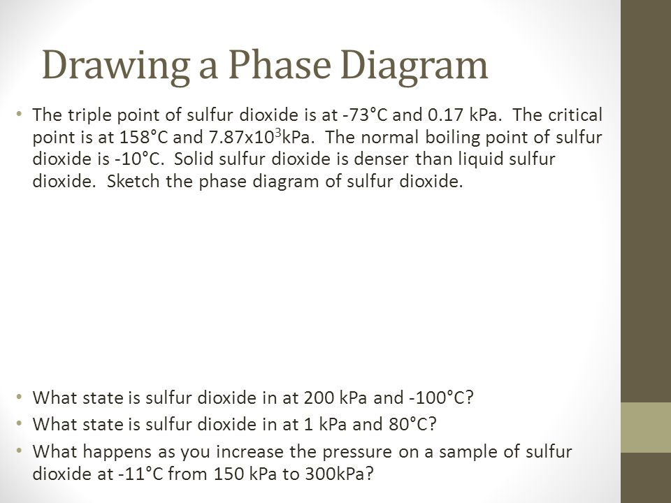 Drawing a Phase Diagram The triple point of sulfur dioxide is at -73°C and 0.17 kPa. The critical point is at 158°C and 7.87x10 3 kPa. The normal boil