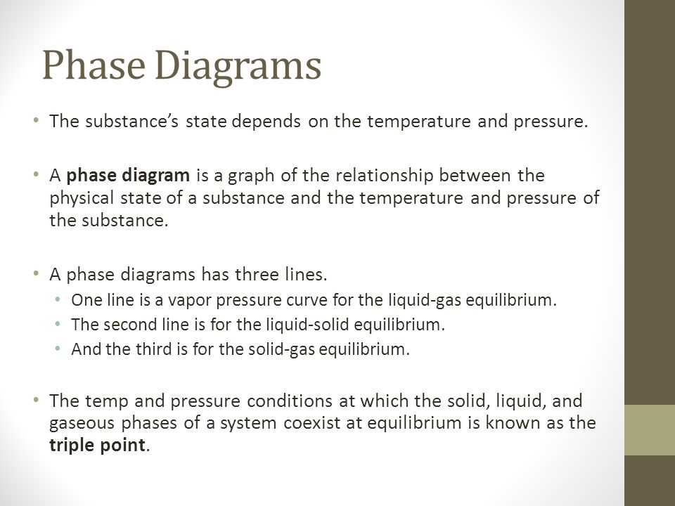 Phase Diagrams The substance's state depends on the temperature and pressure.