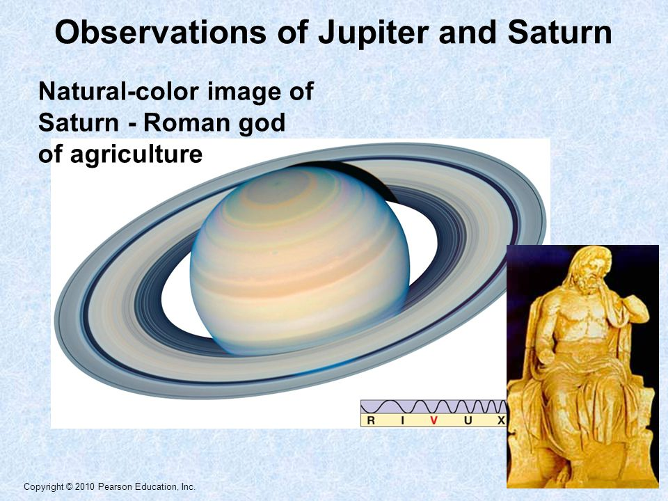 Copyright © 2010 Pearson Education, Inc. Natural-color image of Saturn - Roman god of agriculture Observations of Jupiter and Saturn