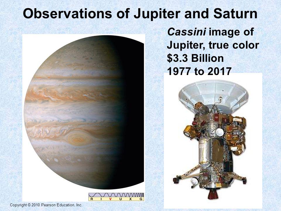 Copyright © 2010 Pearson Education, Inc. Observations of Jupiter and Saturn Cassini image of Jupiter, true color $3.3 Billion 1977 to 2017