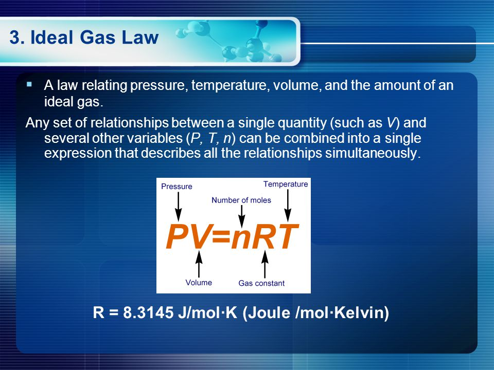 3.Ideal Gas Law  A law relating pressure, temperature, volume, and the amount of an ideal gas.